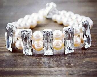Bridal Bracelet, Swarovski Pearl and Crystal Bracelet, Double Strand Bracelet, Bold Bridal Bracelet, Wedding Bracelet, Wedding Jewelry