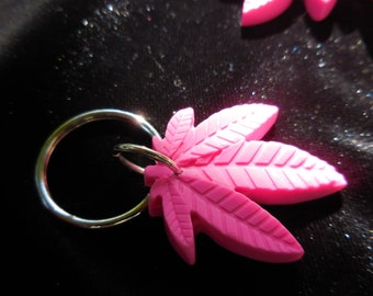 Bright Pink Pot Leaf Key Chain, Marijuana Leaf Key Chain, Medical Cannabis, Weed, Reefer, Hippie, Boho, Handmade Key Chain, Cannabis Leaf