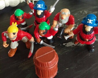 Fisher Price Great Adventures Pirates 1999 Lot of 6 Pirates and Boat