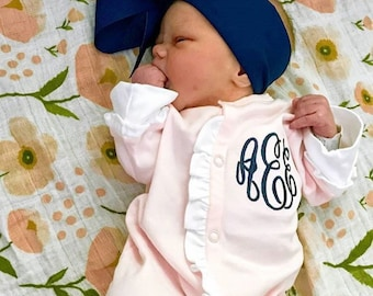 Baby girl coming home outfit, monogrammed footie, ruffle footie, newborn picture outfit, baby girl clothing, baby shower gift, pima cotton