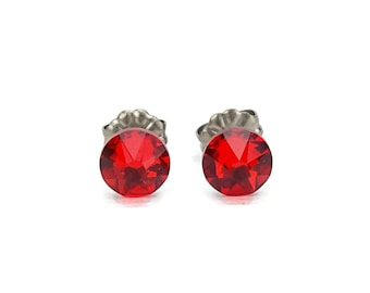 Titanium Stud Earrings Red, Light Siam Swarovski Crystal Studs, Titanium Post Earrings for Sensitive Ears, Hypoallergenic Titanium Jewelry