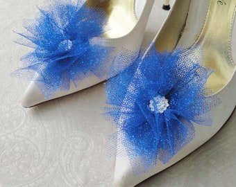 Wedding Bridal Royal Blue And Glitter With A Rhinestone Center Flowers Shoe Clips