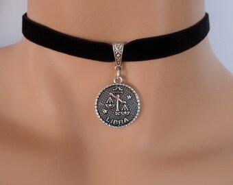 velvet choker, libra choker, libra necklace, stretch ribbon, black velvet, zodiac