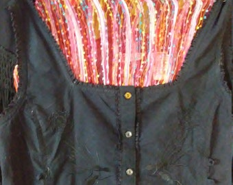 Black Blouse with Lacing /by Faded Glory/ 100% Cotton/ Scoop Neck/ Size M