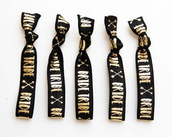 Black Gold Bride Tribe 5 Hair Ties, Wristbands Bracelets, No Crease Hair Band, Bachelorette Party Favor, Bridal Party Gift, Team Bride Hair