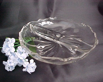 Vintage Heisey Waverly 2 Part Relish Dish, 3 Toed Mid Century Crystal Glassware, Footed Collectible Glass Divided Serving Bowl