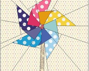 The Pinwheel - paper piecing PP pdf Pattern 13x13