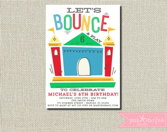 Bounce House Birthday Invitation, Bounce House Invitation, Bounce House Party, Jump Invitation, Trampoline Birthday Invitation, Printable