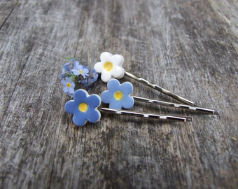 Forget me not bobby pins, 3 blue flower hair pins