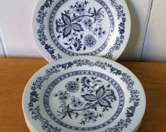 4 vintage dark blue floral melmac saucers Texasware