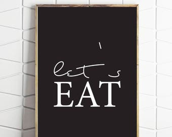 Kitchen Sign Lets Eat Art Typography Word Simple