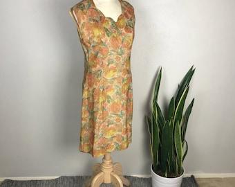 1960s Goldenrod Floral Vintage Cocktail Dress