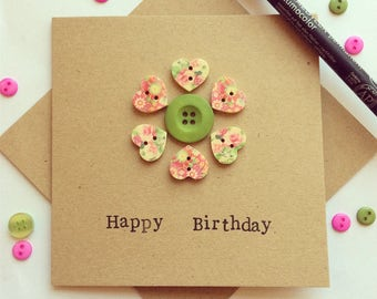Happy Birthday Card embellished with buttons (retro, floral, bright & funky)
