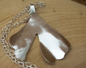 Silver Ginkgo Leaf Necklace - Leaf Necklace - Sterling Silver Necklace
