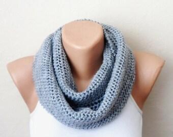 gray knit infinity scarf gray  circle scarf loop scarf winter scarf shawl knit scarf