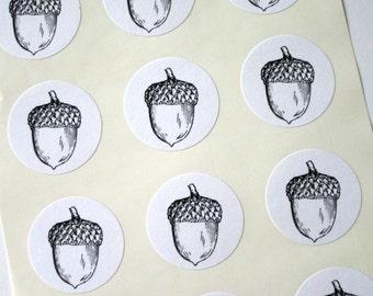 Acorn Stickers One Inch Round Seals