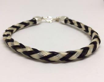 8.5 Inch Black/White Horse Hair Braided Horsehair Bracelet - 6MM Round Braid