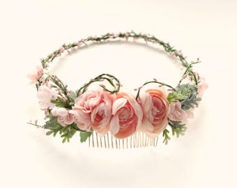 Pink floral headpiece, Spring flowers bridal crown, Botanical wreath, Boho bridal circlet, hair accessory, Flower crown, Ranunculus comb