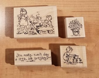 Stampin' Up Retired Set - 2001 Friendships Grow - Rubber Stamp Set of 4 - RS-004