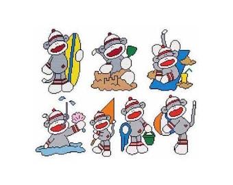 Beach Sock Monkey Combo Counted Cross Stitch PDF Pattern