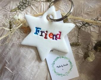 Clay 'Friend' key ring