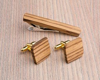 Wooden tie Clip Cufflinks Set Wedding Rounded Square Cufflinks. Wood Tie Clip Cufflinks Set. boyfriend father gift, Groomsmen Cufflinks set.