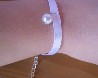 Satin White Pearl wedding bracelet