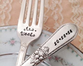 """Mr. & Mrs. dinner Forks with Name / date, vintage wedding  """"Adoration"""" forks, hand stamped"""