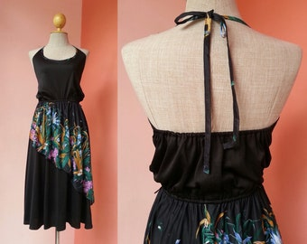 Black Halter Dress 70s Dress Small Vintage Open Back Dress Women 1970s Sundress Womens Boho Dress Green Pink Floral Print Hippie Midi Dress