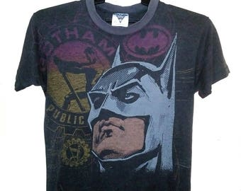 FREE SHIPPING Vintage 80's batman full print I love Gotham city tees small size paper thin