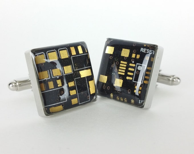 Black and Gold Circuit Board Cufflinks - Handmade Cufflinks  w/ Recycled Technology - Silver Plated - Choose Round or Square