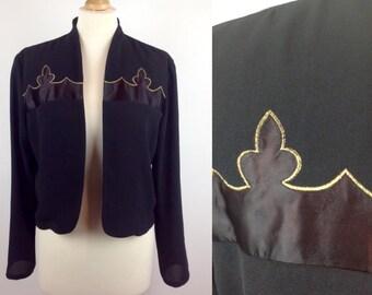 Vintage 80s Black Bolero Jacket, Spanish Jacket, Gold, Hammells, Retro Black Jacket, Size Medium, Womans Clothing