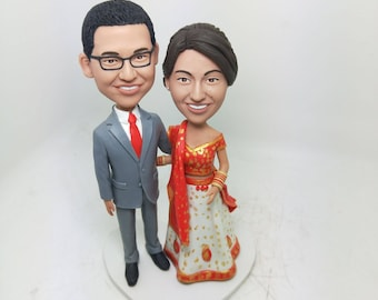 Custom Indian Bride Personalized Wedding Cake Topper Indian Bobble Head Clay Figurine Traditional Indian Bride Indian Wedding Cake Topper