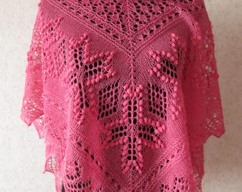 Handknitted pink triangle estonian lace shawl