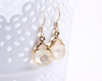 Bridesmaid Earrings Crystal Golden Shadow Wedding Earrings in Gold