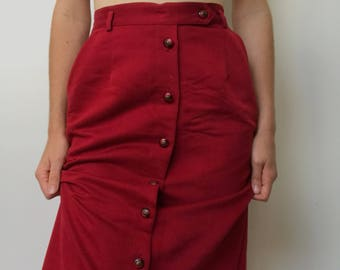 Vinatge Burgundy Red Maxi Skirt