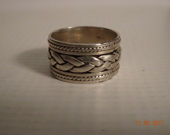 Sterling Silver Braided Design Wide Band Ring - size 9 1/2