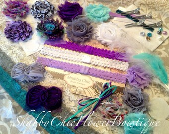 Diy baby headband kit over 90 pieces creates 15 customized peacock headband kit diy baby shower activity game purple teal aqua turquoise gray theme girl accessory solutioingenieria Images