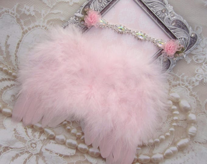 Pink Angel Baby Wings AND/OR Matching Rhinestone & Flower Headband for newborn photos, photographer, baby girls, Lil Miss Sweet Pea Boutique