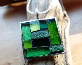 Handcrafted Silver Square Stained Glass Mosaic Pendant -Light/Dark Green