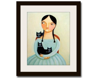 PRINT 3 BLACK CATS portrait with woman in blue dress folk art painting print by Tascha