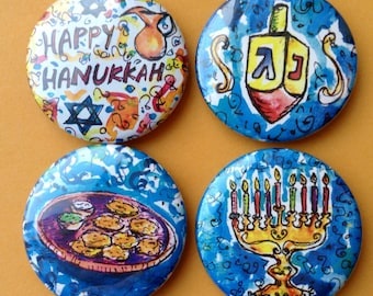 Happy Hanukkah Magnets, Jewish Art, Jewish Gifts, Judaica Art, Jewish Kitchen Decor, Fridge Magnets, Jewish Holiday, Button Magnets
