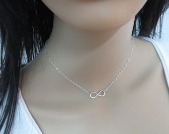 Sterling silver infinity necklace,  infinity pendant choker, simple necklace delicate layering jewelry