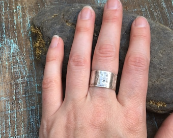 Hammered Wide Band Ring in Sterling Silver