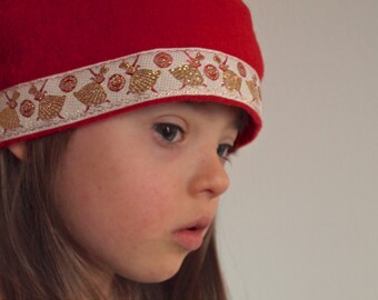 Red Fleece Cloche Hat with Red and Gold Ballerina Trim