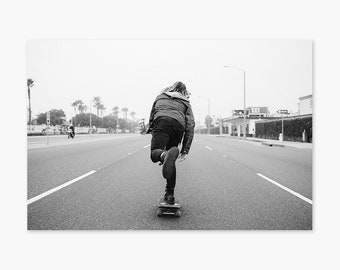 Coastal Push ~ Skate Photography, Skateboarding, Skateboard, California, Summer, Beach, Wall Art, Living Room, Bedroom, Monochrome