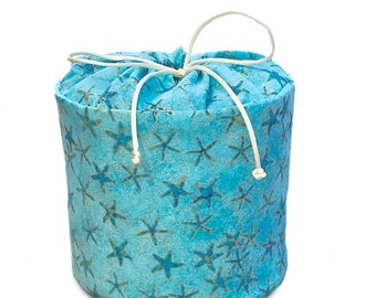 Starfish in Aqua Turquoise Blue - Fabric Spare Toilet Paper Holder, Cozy or Cover