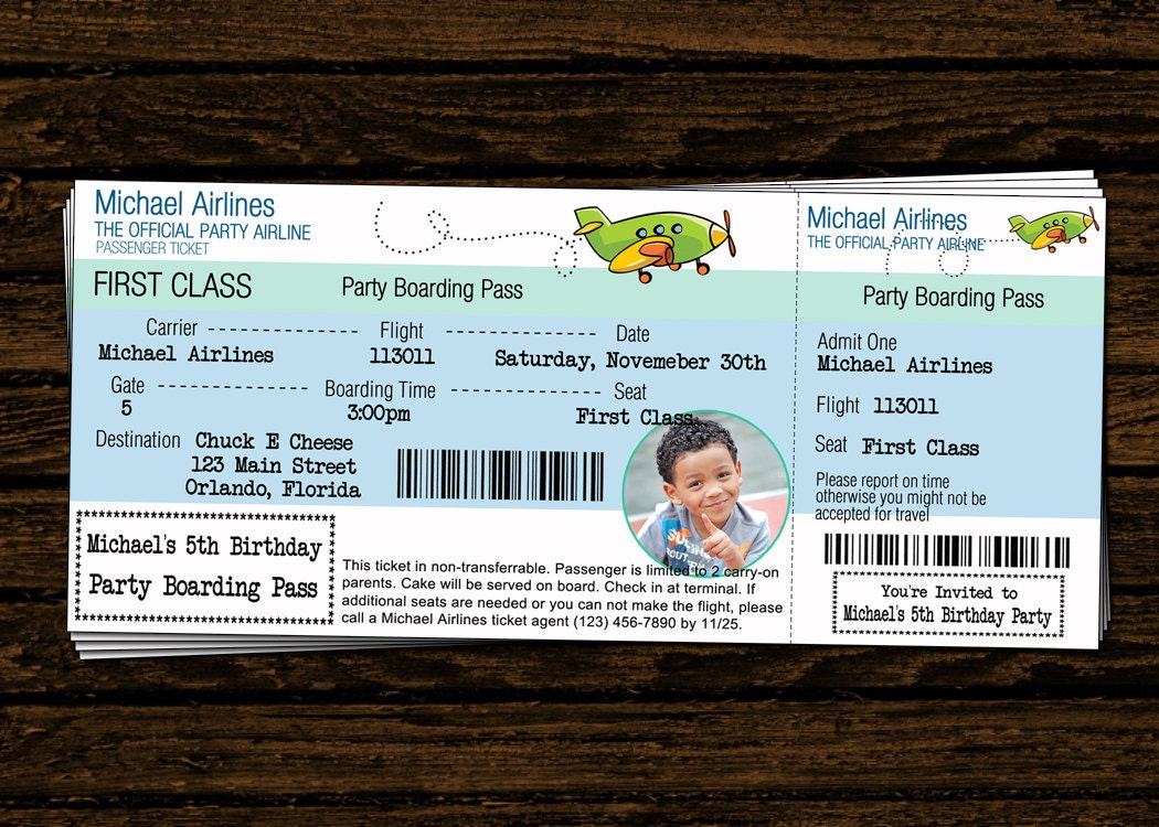 Custom airline ticket airplane birthday party photo zoom stopboris