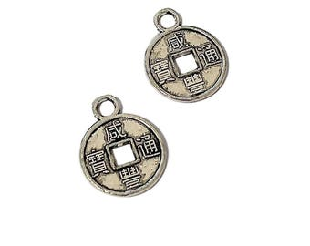 10 Chinese Coin Charms | Silver Chinese Coins | Lucky Chinese Coin | Small Coin Charm | Ready to Ship from USA | AS205-10