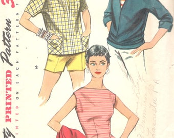 Simplicity 1172 1950s Misses Simple to Make Blouse and Pullover Shirt Pattern Bateau Neck Womens Vintage Sewing Pattern Size 14 Bust 32